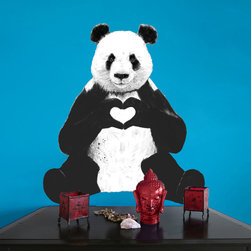 My Wonderful Walls - Sitting Panda Decal Cut Out - All You Need Is Love by Balázs Solti, Small - - Product:  sitting panda bear wall sticker with heart hands