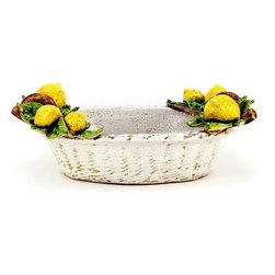 Artistica - Hand Made in Italy - Robbiana: Oval Basket Centerpiece with Lemons - Robbiana Collection: