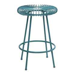 iMax - iMax Ellie Blue Metal Stool X-19474 - Constructed of iron and painted in bright hues, the Ellie metal stools will refresh your entertaining area, or use as a plant stand or small side table.