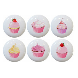 Carolina Hardware and Decor, LLC - Set of 6 Cupcake Ceramic Knobs - 1 1/2 inch white ceramic knobs with one inch mounting hardware included.  Great as a cabinet, drawer, or furniture knobs.  Adds a nice finishing touch to any room!
