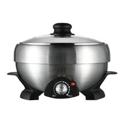 Sunpentown - Multi-Cooker, Shabu-Shabu & Grill - Enjoy making various dishes with this versatile multi-cooker. Use it for Shabu-Shabu, for grilling, for steaming, for simmering, and much, much more. Equipped with multiple accessories: Stainless Steel pot, non-stick griddle, glass lid, mesh strainer and strainer support. Accessories are all removable for easy cleaning.