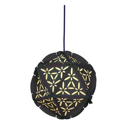 Control Brand - The Como Grey - The Como Grey is a decorative, globular pendant, and is made from twenty Paper triangles; colorful rubber bands hold the structure together. The individual Paper elements are cut at the edges in arcs and have two incisions to hold the rubber bands in place. In combination with the feather cuts, the patterns and perforations in the Paper triangles create a beautiful play of light and shadow. Ceiling power cord is not included.