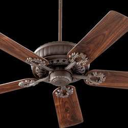 "Quorum Lighting - Quorum Lighting Empress 52"" Traditional Ceiling Fan X-68-52553 - A classic acanthus-leaf inspired pattern adorns the motor body and the five arms of this Quorum Lighting ceiling fan. From the Empress Collection, this traditional ceiling fan comes in a standard 52"" size and features a reversible three speed motor. It is available in 7 finishes to better suit your decor."