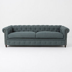 Thackery Chesterfield - You could cuddle up under a blanket on this tufted sofa.
