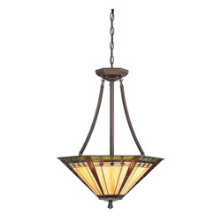 Quoizel - Quoizel TFAN2818RS Arden Tiffany Inverted Pendant Light - This transitional family comes with an authentic bronze patina for the floor & table lamps while the fixtures boast a rich Russet finish.