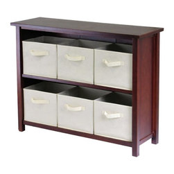Winsome - Winsome Verona 2-Section W Storage Shelf Bookcase with 6 Foldable Beige Fabric B - Shop for Buffets and Side Boards from Hayneedle.com! Make cleaning fun - we promise it's possible - with the Verona 2-Section W Storage Shelf with 6 Foldable Beige Fabric Baskets. Six removable foldable beige fabric baskets with easy-to-tote handles can get everyone in on the action; just take them wherever you need to organize and toss everything in. The baskets fit snugly into the rich dark wood solid and veneer shelf; the system is ideal for magazines books toys blankets and clothes in the living room bedrooms bathrooms entryways and offices. The 2-section design is easy to access without taking too much floor space too. Assembly is required; 30-day warranty included.Basket DimensionsBaskets: 11W x 10D x 9H inchesAbout Winsome TradingWinsome Trading has been a manufacturer and distributor of quality products for the home for over 30 years. Specializing in furniture crafted of solid wood Winsome also crafts unique furniture using wrought iron aluminum steel marble and glass. Winsome's home office is located in Woodinville Washington. The company has its own product design and development team offering continuous innovation.