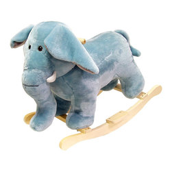 Happy Trails - Elephant Plush Rocking Animal - Recommended Weight Limit: 80 lbs.. Seat Height: 18 in.. Ages: 2 years and up. Color: Blue. 27 in. L x 14.25 in. W x 20 in. H (9 lbs.)
