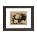 Fiber and Water - Buffalo In The Wild Art - A symbol of prosperity and strength, the buffalo image — and spirit — can empower your space. This impressive yet simple piece, printed on natural burlap with a distressed wood frame, will touch anyone with a respect for the wild.