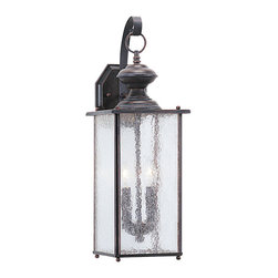 Sea Gull Lighting - Sea Gull Lighting 8883-08 Jamestowne Rust Patina Outdoor Wall Sconce - Jamestowne Outdoor Wall Lantern Finished In Textured Rust Patina With Clear Seeded Glass.