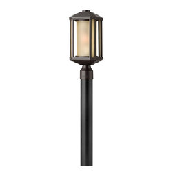 Hinkley - Hinkley-1391BZ-GU24-Castelle - One Light Post - Castelle�s transitional style features clean lines and a ribbed etched glass cylinder accented by etched amber corner panels, adding to its sophisticated look.   Bronze Finish with Amber Etched Glass  Lamp Quantity: 1  Lamp Type: GU24  Wattage: 26  Voltage: 120  Wet Location Certified  Material: Aluminum