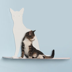 Cat Silhouette Cat Shelf, Off-white - These silhouette cat shelves double as perches for your own feline friends. We cat lovers are always practical.