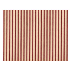"""Close to Custom Linens - 18"""" Twin Bedskirt Gathered Crimson Ticking Stripe - A charming traditional ticking stripe in crimson red on a beige background. Gathered with 1 1/2 to 1 fullness, split corners and an 18"""" drop. Cotton/poly platform."""