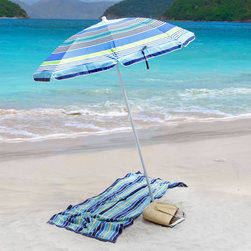Rio Brands - Rio Umbrella - Blue/Green Stripe - UB71-1450 - Shop for Patio Umbrellas from Hayneedle.com! Take UV rays off the beach party invitation list with the Rio Umbrella Blue/Green Stripe a fashionably styled umbrella that weighs in at an easy-to-carry three pounds. Crafted from powder-coated steel and waterproof polyester for weather-resistant durability this blue-green shade will keep you looking on the shady side of life thanks to its five tilt positions and quick adjustability.About RIO BrandsWith its impressive 60-year history RIO Brands is the most enduring company in the outdoor furniture marketplace today. RIO Brands has earned a superb reputation for providing constant innovation fashion leadership dependable quality and outstanding customer service. RIO stands alone as the vanguard of fashion when it comes to beach furniture using high-quality materials stunning yet durable fabric and fresh exciting styles. RIO beach chairs last longer helping ensure happier beach-going customers. Please note this product does not ship to Pennsylvania.