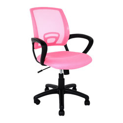 Pink 360 Swivel Armchair Adjustable Modern Wheels Office Chair, Pink - Product Description: