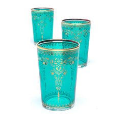 Turquoise Moroccan Tea Glasses - Transport yourself to the relaxing and visually stunning experience of the spa with these beautiful glasses. Traditional ornate patterns on bright turquoise will be a treat for your eyes as you sip your favorite restorative beverage.