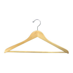 Proman - Gemini concave Suit Hanger with Wooden Bar - Gemini-concave suit hanger with wooden bar, natural lacquer, chrome, 50 pcs/case. Concave suit hanger. W/ wooden bar with chrome hardware.