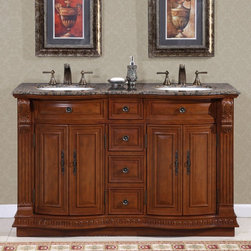 Silkroad Exclusive - Monica Double Sink Bathroom Vanity Cabinet - Faucets not included. Traditional style. Pre-drilled for three-hole, 8-in. widespread faucets. Four drawers and four storage with shelves. Undermount UPC certified white ceramic sinks. Baltic brown granite stone top. Brushed nickel hardware finish. Big cutout back for plumbing installation. 30 days manufacturer limited warranty. Made from wood, CARB Ph2 certified plywood and MDF panels. Distressed cherry finish. No assembly required. Center to Center: 25 in.. Overall: 55 in. W x 22 in. D x 36 in. H (271 lbs.)Double Sink Vanity with Baltic Brown Granite Stone top will surely give any bathroom the attention and appeal that it deserves. Magnificent empire style with modest carvings along the legs and edges, this vanity will be a focal point of your bathroom.