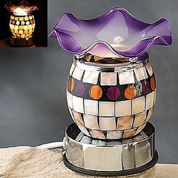 Artico - Round Electric Oil Burner with Natural Shell and Saucer, Purple - This gorgeous Round Electric Oil Burner with Natural Shell and Saucer, Purple has the finest details and highest quality you will find anywhere! Round Electric Oil Burner with Natural Shell and Saucer, Purple is truly remarkable.