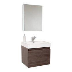 Fresca - Nano Modern Bathroom Vanity w Medicine Cabinet (Bevera Chrome) - Choose Included Faucet: Bevera ChromeSingle Hole Faucet Mount (Faucet Shown In Picture May No Longer Be Available So Please Check Compatible Faucet List). Nested Drawer Storage System (Soft Closing Drawers). P-trap, Faucet, Pop-Up Drain and Installation Hardware Included. With overflow. Sink Color: White. Finish: Gray Oak. Sink Dimensions: 20.25 in. x13 in. x4 in. . Medicine Cabinet: 19.5 in. W x 26 in. H x 5 in. D. Materials: MDF with Acrylic Countertop/Sink with Overflow. Vanity: 23.38 in. W x 18.75 in. D x 21.25 in. HThis vanity is striking in its simplicity. Don't forget to check under the hood with the innovative storage system from Blum that includes a nested drawer. Perfect for smaller bathrooms.