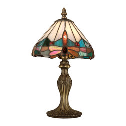 Dale Tiffany - Dale Tiffany TA10606 Tiffany Jewel Dragonfly Accent Lamp - Shade: Hand Rolled Art Glass