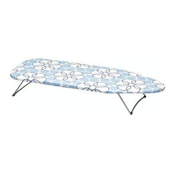 Household Essentials - Handy Board Deluxe Table Top Board, Silver/Natural - Our Handy Board Table Top Ironing Board is easy to use for quick touch ups, smaller clothing, crafting, dorm rooms, apartments, travel and even the office. With a strong steel mesh iron surface covered by 100% cotton cover and a fiber pad and steel folding legs, this board means business.