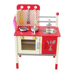 Berry Toys - Berry Toys Cute and Fun Wooden Play Kitchen Brown - W10C027 - Shop for Cooking and Housekeeping from Hayneedle.com! Delight your little chef with the Berry Toys Cute and Fun Wooden Play Kitchen! This sturdy wooden kitchen set has all the essentials: a countertop range with two burners a sink that comes out for easy clean-up and an oven that opens and closes. And don't think you'll have to buy a separate set of accessories to get your child started this kitchen also comes with two pans and three cooking utensils. When it's time to clean up accessories store neatly on hooks and in the under-sink cabinet. Let your child play pretend in the kitchen with the adorable Berry Toys Cute and Fun Wooden Play Kitchen.About Berry ToysBased in Chino Hills California Berry Toys is a leading manufacturer of children's toys. Berry Toys aims to educate children through play and their toy selection includes play kitchens play foods musical instruments play tools and more. If you want affordable pricing quality customer service and educational toys that are manufactured according to the highest standards Berry Toys can deliver.