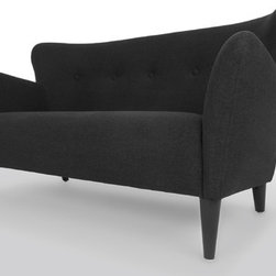 Bryght - Happy Charcoal Gray Loveseat - Taking inspiration from the 1950's, the Happy collection boasts a retro mid century modern appeal. Tailored to perfection in a chic charcoal Gray fabric with flared, upward sloping arms and a button tufted back, the Happy love seat is all set to make a bold fashion statement.