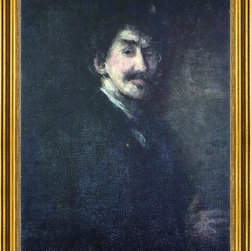 "James McNeill Whistler-18""x24"" Framed Canvas - 18"" x 24"" James McNeill Whistler Gold and Brown (also known as Self Portrait) framed premium canvas print reproduced to meet museum quality standards. Our museum quality canvas prints are produced using high-precision print technology for a more accurate reproduction printed on high quality canvas with fade-resistant, archival inks. Our progressive business model allows us to offer works of art to you at the best wholesale pricing, significantly less than art gallery prices, affordable to all. This artwork is hand stretched onto wooden stretcher bars, then mounted into our 3"" wide gold finish frame with black panel by one of our expert framers. Our framed canvas print comes with hardware, ready to hang on your wall.  We present a comprehensive collection of exceptional canvas art reproductions by James McNeill Whistler."