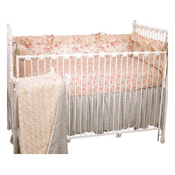 Cotton Tale Designs - Tea Party 4pc Crib Bedding Set - Tea Party 4 pc crib bedding collection by Cotton Tale Designs is a beautiful combination of soft vintage florals and rose faux fur.