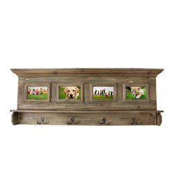 ecWorld - Family Album Picture Frame Coat Rack - Antiqued Handcrafted Weathered Wooden