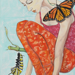 """Wait For It - """"Wait for It"""", painted by Darlene Graeser from Unconscious on Canvas in May 2013 depicts a precious spring moment on a 48x36 canvas. The message of the caterpillar turning into a butterfly appeals to many emotional moments of hope while waiting."""