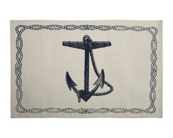 """Thomas Paul - Nautical Anchor Bath Mat - Anchors aweigh! The Thomas Paul Nautical Anchor bath mat features a hand screened print on 100% cotton. The bath mat features one of our favorite themes: nautical imagery. The design features an anchor with a rope border. A perfect reminder of those days on the water. The bath mat measures 36"""" x 24"""". The blue color adds a pop of color to your bathroom.   About the Artist: After graduating from NYC's famed FIT, Thomas Paul started his career as a colorist and designer at a silk mill. Eventually, he leveraged his knowledge of silk materials & print to launch a neckwear line of his own. Over time, Paul loved the idea of applying menswear print and design into a collection of home decor, which is what we see in his goods today. His background has embedded in him a passion for quality production techniques. Even as his brand grows, he continues to ensure all of his prints are hand screened - a slow, detailed process that results in each piece being a unique piece of artwork. Paul also pushes the envelope in terms of bold prints and hand ground materials.       """"My vision for the thomaspaul brand has always been about combining classic design motifs from different periods in textile design. Incorporating anything from an 18th century Damask pattern to a camouflage print. The unifying thread between so many different styles is to change the designs so they are updated for today. For me this means changing the scale, so they are always bold, and reducing down the colors and details, so most designs are reduced to two or three colors and become very flat, bold prints. I am always looking to vintage fabrics and motifs for inspiration and new ideas, but always try to update these to look good for today."""" - Thomas Paul   Product Details:"""