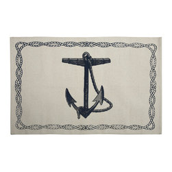 "Thomas Paul - Nautical Anchor Bath Mat - Anchors aweigh! The Thomas Paul Nautical Anchor bath mat features a hand screened print on 100% cotton. The bath mat features one of our favorite themes: nautical imagery. The design features an anchor with a rope border. A perfect reminder of those days on the water. The bath mat measures 36"" x 24"". The blue color adds a pop of color to your bathroom.   About the Artist: After graduating from NYC's famed FIT, Thomas Paul started his career as a colorist and designer at a silk mill. Eventually, he leveraged his knowledge of silk materials & print to launch a neckwear line of his own. Over time, Paul loved the idea of applying menswear print and design into a collection of home decor, which is what we see in his goods today. His background has embedded in him a passion for quality production techniques. Even as his brand grows, he continues to ensure all of his prints are hand screened - a slow, detailed process that results in each piece being a unique piece of artwork. Paul also pushes the envelope in terms of bold prints and hand ground materials.       ""My vision for the thomaspaul brand has always been about combining classic design motifs from different periods in textile design. Incorporating anything from an 18th century Damask pattern to a camouflage print. The unifying thread between so many different styles is to change the designs so they are updated for today. For me this means changing the scale, so they are always bold, and reducing down the colors and details, so most designs are reduced to two or three colors and become very flat, bold prints. I am always looking to vintage fabrics and motifs for inspiration and new ideas, but always try to update these to look good for today."" - Thomas Paul   Product Details:"