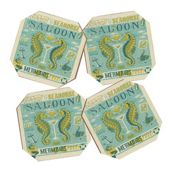DENY Designs - Anderson Design Group Seahorse Saloon 4 Coasters and Bamboo Holder - Say goodbye to water rings on your furniture and hello to the stylish solution: DENY Designs' Coaster Set. Available in a set of four, you can also opt for the coaster tray to house the set or go the a la carte route. Either way, your glasses are going to get a fun drinking companion!
