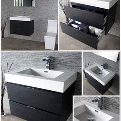 "Bliss 30"" Black Wall Mount Modern Bathroom Vanity - Marine Veneer Wood construction Console w/ 2 Drawers"