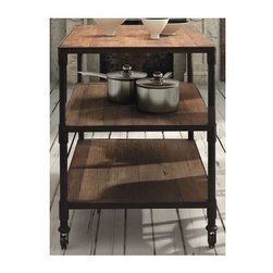Zuo Modern - 3-Level Wide Shelf Unit Cart - Warranty: One year. Made from fir wood and metal. Distressed natural finish. Assembly required. 47 in. W x 27.6 in. D x 35.4 in. H (99 lbs.)