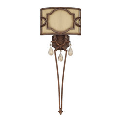 Capital Lighting - Capital Lighting Luciana Transitional Crystal Wall Sconce X-RC-825-DB4136 - A torch style frame has been paired with rich elements for a visually stunning effect on this Capital Lighting wall sconce. From the Luciana Collection, the shade features a blend of details including a filigree style metal cage and decorative fabric diffuser. The body comes finished in a Bronze hue paired with Gold Dust detailing. For added appeal, crystal-like drop accents have been used.
