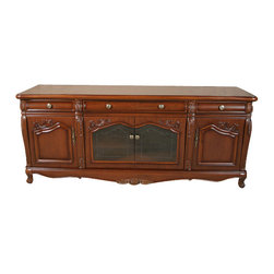MBW Furniture - Mahogany Buffet Sideboard Server w/ Glass Doors - Mahogany Finish