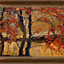 overstockArt.com - Kopania - Autumn (Tree) Oil Painting - Autumn is a beautiful image of trees and landscape during fall when nature changes its colors from green to red, yellow and brown. This canvas print will bring colors and beauty to every room. Justyna Kopania is from Warszawa, Poland. In her words when she paints she tries to show the 'world', which could be seen by looking at reality that surrounds us, from another perspective, unusual, remote, sometimes through the eyes of the child, sometimes music, composer, or someone who looks lichen on the sea, the moon , the sky and the stars ..., the river ... looks out the window and looks out into the street. Walking down the street looking at people's faces. In rain, snow or fog. Perhaps the world that surrounds us really is quite different than we perceive it every day.