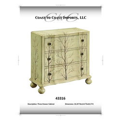 Coast To Coast - Antique Ivory Three Drawer Chest - 43316 - Antique Ivory Finish