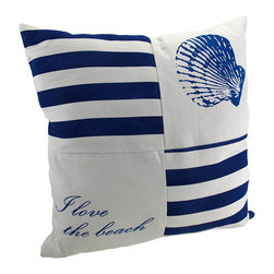 Zeckos - Navy and White Canvas Beach Themed Throw Pillow 15 in. - This throw pillow is a wonderful accent to your beach themed decor! It features a blue shell in one corner, 'I love the beach' in the opposite corner, and navy and white stripes in the other two corners. The pillow measures 15 inches by 15 inches, and has a zipper on the back of the cover so you can remove and wash it. The pillow insert is 100% polyester. It looks lovely on beds, chairs, and couches anywhere in your home, and makes a great gift for a friend.
