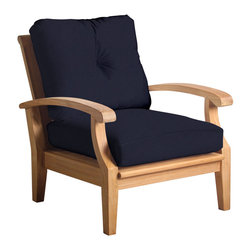 Douglas Nance - Set of 2, Douglas Nance Cayman Deep Seating Club Chairs, Navy - Douglas Nance Cayman has a distinctive casual flair with sumptuous cushions for premium relaxation. The cuts of teak are thick and solid yet the design curves offer a light, island feel. This collection also offers a loveseat and dining options. Includes made-to-order Sunbrella cushion.