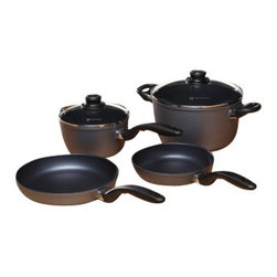 Swiss Diamond - 6 Piece Set: Newlywed Kitchen Kit - Enjoy the benefits of healthy cooking and easy clean-up with this Swiss Diamond 6-Piece Set  specially designed for newlyweds. It makes a perfect wedding or anniversary gift, as well as the ideal cookware essentials upgrade. This set includes:  Two Fry Pans (8 inch and 9.5 inch)aA 2.2-quart saucepan with lidA 5.5-quart Soup Pot with lid. Like all Swiss Diamond Pans, this set conducts heat well, cooks food evenly, and resists cracking and chipping. Our diamond nonstick coating coupled with stay-cool handles and tight-fitting lids make this set the perfect addition to any registry. And remember, as TheKnot.com says - if you're registering for cookware, go for the good stuff! Swiss Diamond cookware will last for years, so you wont have to replace it. Ask your friends and family to invest in pieces that you can use over and over  and think of them every time you do.