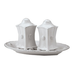 Berry and Thread Salt and Pepper Shakers - Whitewash - Chinoiserie inspirations subtly influence the architectural details of the Berry and Thread Salt and Pepper Shakers, which display this transitional tableware collection's signature three-dimensional raspberry on each tapering wall. Roughly square to give a more formal look to a sought-after serving necessity, these shakers have a high top knob to complete the structured shape.