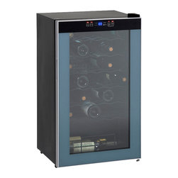 Avanti - 34-Bottle Wine Chiller - The Avanti WC3406 34 Bottle Wine Chiller is a single-zone wine refrigerator that stores up to 34 bottles of wine at their optimum serving temperature. It's door integrated soft touch control panel with electronic display make it easy to adjust and monitor the temperature inside the cabinet. The modern design compliments any decor, and is further enhanced by a soft interior LED light that can be turned on and off. This wine chiller is designed for free standing installation only, and should not be recessed or built-in (fully recessed). Allow 5 inches of space between the back and sides of the refrigerator, which allows the proper air circulation.