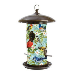 Toland Home and Garden - Bird Collage Bird Feeder - Hanging Art Bird Feeders will add a splash of color to your feathered friends feeding routine. These beautiful bird feeders' outer material is a UV and weather resistant fabric, while the inner lining is made of polypropylene and will help keep the bird seed dry ensuring a steady flow of seed.