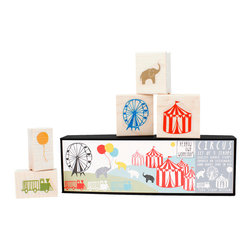 Yellow Owl Workshop - Circus Scenic Stamp Set - Set of 5 molded natural rubber stamps with thick cushion, each mounted on a maple block presented in 8 x 2.5 inch heirloom case.
