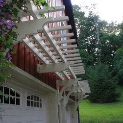 Garage Arbors - White Garage Arbor with clematis vine over double car garage doors