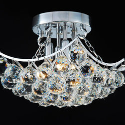 None - Indoor 4-Light Chrome And Crystal Flushmount Chandelier - This gorgeous flush-mount chandelier will give your dining room, kitchen, or entryway an elegant look. It has four lights, 36 clear crystals, and a chrome finish. The chandelier requires four 25- to 40-watt bulbs, which are sold separately.
