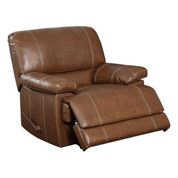 Global Furniture - Rocker Recliner in Rodeo Brown Bonded Leather - Seat yourself in unsurpassed comfort and style with this rodeo brown colored recliner chair. Upholstered in generously padded cushions with padded pillow top armrests, for a comfortable seating experience. Accent stitching further accentuates the recliner